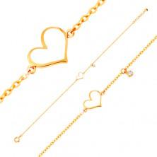 14K Goldarmband - weißes asymmetrisches Herz und klarer Zirkon, feine Kette