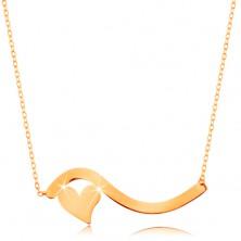 Collier aus 585 Gelbgold - Welle und symmetrisches Herz, feines Kettchen