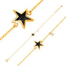 Armkette aus 585 Gelbgold - schwarz glasierter Stern und klarer Zirkon