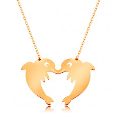 14K Goldcollier - glänzende Kette, zwei Delfine, einen Herzumriss bildend