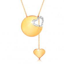 585 Goldcollier - feines Kettchen, glänzende Scheibe, Herzkontur aus Weißgold