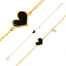 Armkette in 14K Gelbgold - schwarzes asymmetrisches Herz und klarer Zirkon