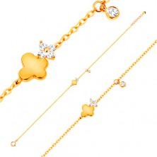 585 Goldarmband - Schmetterling mit glitzernder Blume und hängender Zirkonia
