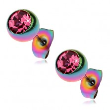 Edelstahlohrstecker, Kugeln in Regenbogenfarben mit rosa Zirkonia, 7 mm
