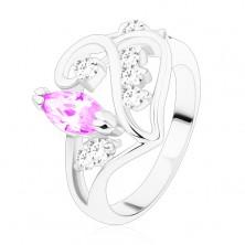 Ring mit geteilter Schiene, Ornament mit hellviolettem Korn