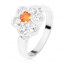 Silberfarbener Ring, glänzende klare Zirkoniablume mit orange Mitte