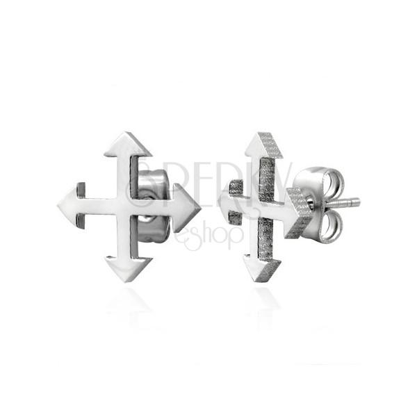 Edelstahlohrstecker in silberner Farbe - vier Weltrichtungen