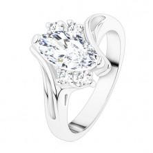 Silberfarbener Ring, klares Zirkoniakorn, zwei Zirkonia, gebogene Schiene
