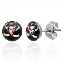 Runde Ohrringe aus Stahl - Piratenmotiv