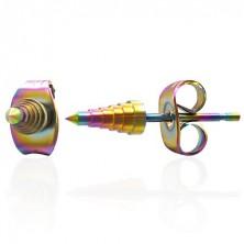 Ohrringe Zacken aus Edelstahl, anodisiert