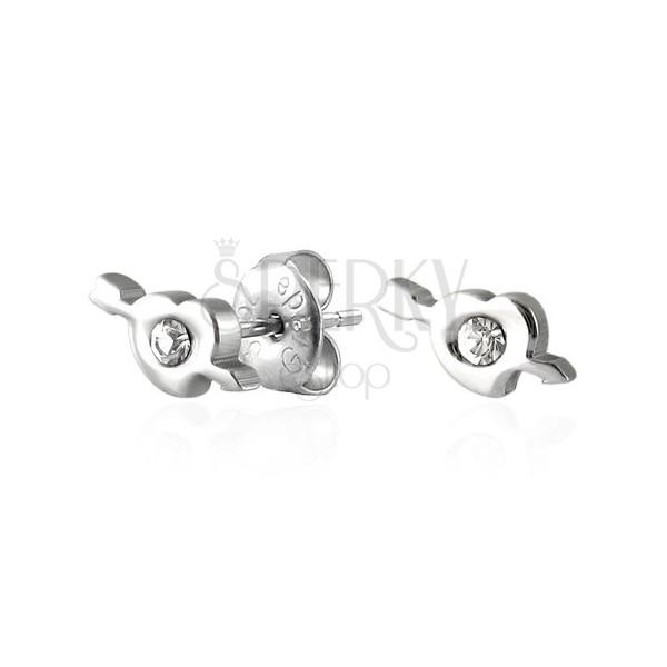 Ohrstecker aus Stahl - Herz mit Amors Pfeil, Zirkonia