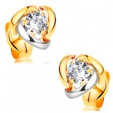 14K Gelbgoldohrstecker - glitzernder klarer Brillant mit zweifarbigen Bogen