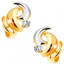 14K Goldohrstecker mit glanzvollem Diamant, zweifarbige Bogen