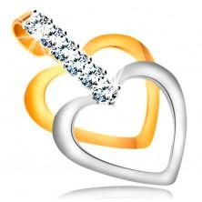 Zweifarbiger Anhänger in 14K Gold - schmale symmetrische Herzkonturen, klare Zirkonia