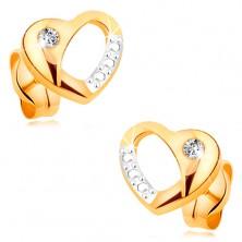 Brillantohrstecker aus 14K Gold - zweifarbiges Herz mit Ausschnitt und Diamant