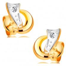 Zweifarbige 14K Goldohrstecker - zwei Bogen und glitezrnder klarer Diamant