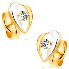 Zweifarbige Ohrstecker aus 14K gold - gebogene Linien um klaren Diamant
