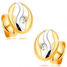 Diamantohrstecker in 14K Gold - Oval mit Welle aus Weißgold, Brillant