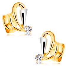 585 Goldohrstecker mit klarem Diamant - Tropfenkonturen, Weißgoldstreifen