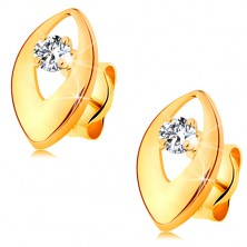 Brillantohrstecker in 14K Gold - glitzernder Diamant in glänzendem Korn