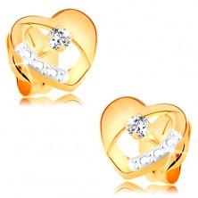 Ohrstecker aus 14K gold - symmetrisches zweifarbiges Herz mit Diamant