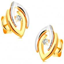 Ohrringe in 14K Gold - verbundene zweifarbige Hufeisen und klarer Brillant