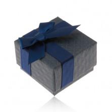 Geschenkschachtel für Ring, Anhänger oder Ohrringe, dunkelblau, Schleife