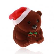Schmuckkästchen aus Samt, für Ring, Ohrringe oder Anhänger, brauner Bär mit Mütze