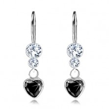 925 Silberohringe, schwarzes Zirkoniaherz, klare Swarovski Kristalle