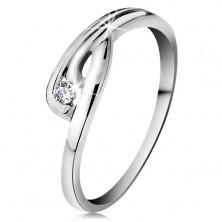 Damenring in 14K Weißgold - glitzernder klarer Diamant, gebogene Ringschiene
