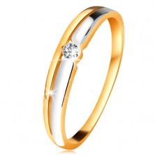 Brillantring aus 14K Gold - klarer Diamant in runder Fassung, zweifarbige Linien