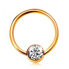Piercing in 9K Gelbgold - glänzender Ring mit Kugel und klarer Zirkonia, 10 mm