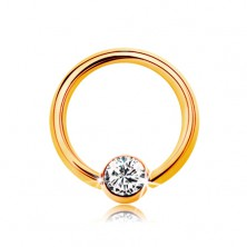 Piercing in 9K Gelbgold - glänzender Ring mit Kugel und klarer Zirkonia, 6 mm