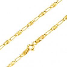 Goldkette, längliches Glied und Glied mit Sonnenstrahlenmuster, 440 mm