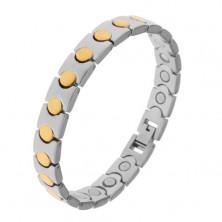Zweifarbiges Armband aus Chirurgenstahl, goldfarbene Kreise, Magnete