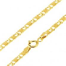 Goldkette - flache längliche gerillte Glieder, Gitter, 500 mm
