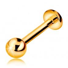 375 Goldpiercing für Kinn oder Lippe - glatte glänzende Kugel 8 mm