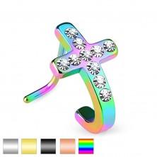 Gebogenes Edelstahlpiercing für Nase, Kreuz mit eingesetzten klaren Zirkonia