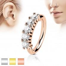 Piercingring aus Chirurgenstahl, fünf klare Zirkonia, verschiedene Farben und Dicken