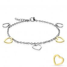 Armkette aus Edelstahl, ovale Kettenglieder, Anhänger - zweifarbige Herzen