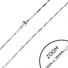 Silberfarbene Edelstahlkette - schmale eckige Glieder mit Rillen, 2 mm