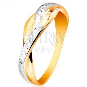 Zweifarbiger Ring in 14K Gold - geteilte wellige Ringschiene, glänzende Verzierung
