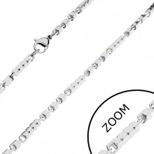 Kette aus 316L Stahl in silberner Farbe, lange und kurze Glieder mit Verzierung, 3 mm