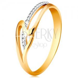 Ring aus 14K  Gold - glänzende gewellte Ringschiene, winzige klare Zirkonia