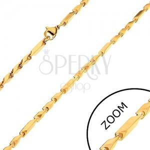 Goldfarbene Kette aus Chirurgenstahl, längere und kürzere eckige Glieder, 3 mm