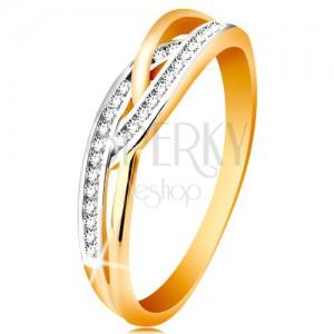 Ring in 14K Gold - verflochtene geteilte Ringschiene, runde klare Zirkonia