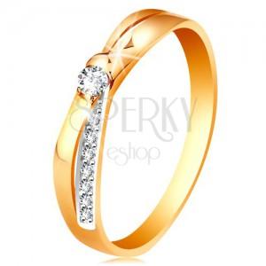 Ring aus 14K Gelbgold - geteilte gekreuzte Ringschiene, runde klare Zirkonia