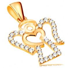 Anhänger aus 14K Gelbgold - Engel mit Zirkoniasteinchen, glänzendes Herz