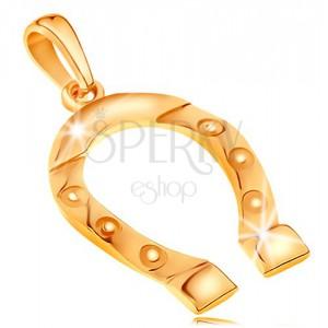 Anhänger aus 585 Gelbgold, Glückssymbol - Hufeisen, gravierte Rädchen