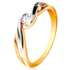 585 zweifarbiger Goldring, geteilte wellige Ringschiene, klarer Zirkonia